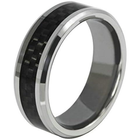 Bishilin 8MM Tungsteno Nero Fibra di Carbonio Inlay Uomo Anello di Fidanzamento Anello Fidanzamento Comfort Fit