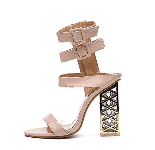 KHSKX-Abricot 8.5Cm Chaussures Mode Ultra - Talon Haut La Boucle De Ceinture Chaussures Avec Semelles Épaisses Et De Gros Orteil. Forty