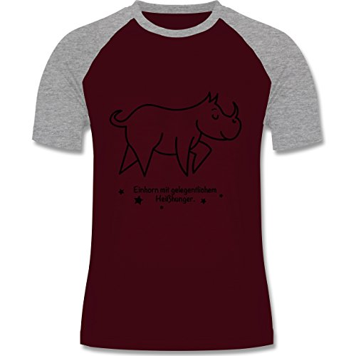 Shirtracer Sonstige Tiere - Einhorn mit Gelegentlichem Heißhunger - Herren Baseball Shirt Burgundrot/Grau meliert