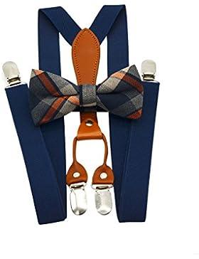 Suspenders & - Set de pajarita elástica para hombre con banda X + pajarita para boda, eventos formales Navy blue1