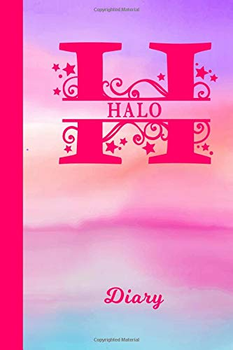 Halo Diary: Personalized First Name Personal Writing Journal | Cute Pink Purple Watercolor Cover | Daily Diaries for Journalists & Writers | Note Taking | Write about your Life & Interests