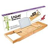 Vassoio in bambù per vasca da bagno con lati estensibili, supporto integrato per libro e tablet, slot per cellulare, portabicchiere e altri accessori