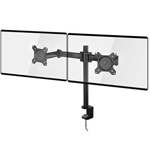 SONGMICS Monitor Halterung 2 Verstellbarer Monitorhalter für 13 bis 27 Zoll VESA Monitore 8 kg Tragkraft für jeden Arm mit C-Schraubzwingen Halterplatten Schwarz OMA02BK