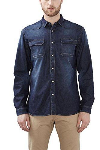 ESPRIT Herren Freizeithemd 027ee2f033 Blau (Blue Medium Wash 902)