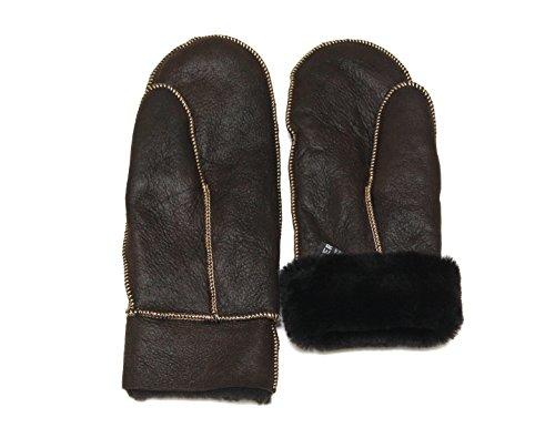 Robuste Lammfell Handschuhe Lammfell Fäustlinge braun mit braunen Fell, Sportliche Kontrast Naht, Damen und Herren, Größenbeschreibung siehe Produktbeschreibung
