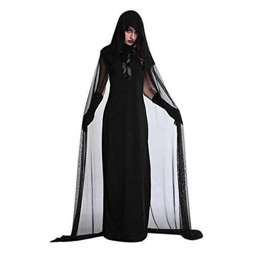 (Libertepe Hexe Kostüm ZombieVampir Braut Faschingskostüm Lang Hexenkleid für Damen Mädchen Größe S,M,L,XL)