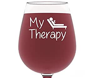 My therapy funny wine glass 13 oz best christmas gifts for women unique birthday gift for - Funny wine glasses uk ...