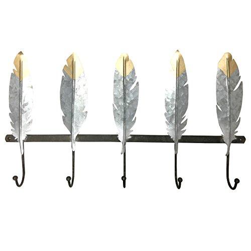 Leaf Coat (JC 5Haken Metall Garderobe, Distressed, Feder, Silber–von Just Contempo, metall, Silver Leaves, 7 x 61 x 35 cm)