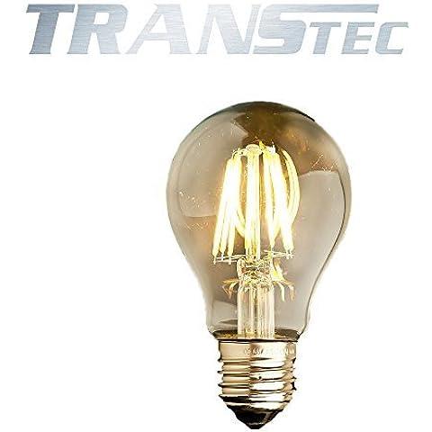 TRANSTEC® Vintage LED Filamento Della Lampadina Retro Stile Filamento - A60 8W E27 - Trasparente Bianco Caldo 2700K - LED Edison Lampadina - Non Dimmerabile [Classe Energetica A ++]