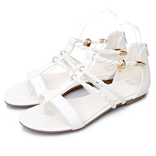 COOLCEPT Damen Mode Clip Toe Sandalen Flach Cut Out Runde Zehe Schuhe Zipper Gr White