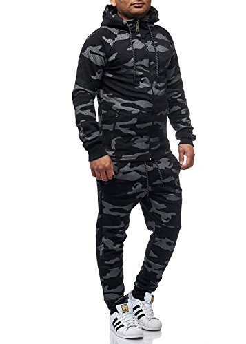 Violento Herren Jogginganzug Sportanzug Jogging Hose Jacke Army Schwarz M