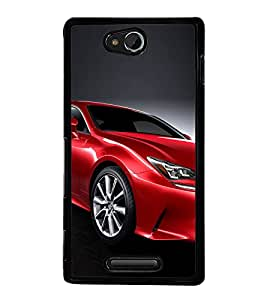 Luxury Red Car 2D Hard Polycarbonate Designer Back Case Cover for Sony Xperia C :: Sony Xperia C HSPA+ C2305