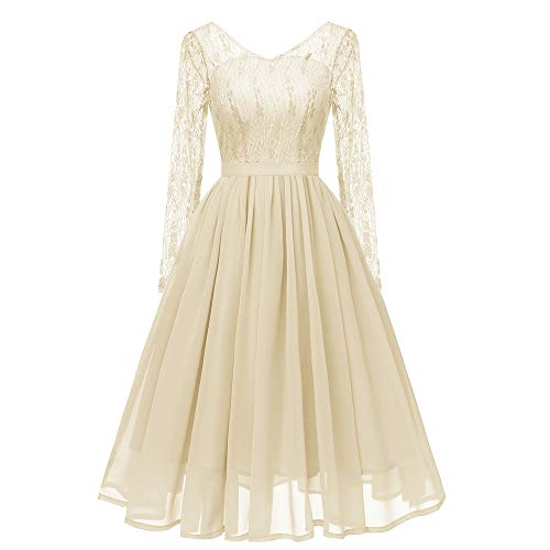 MIRRAY Damen Langarm Vintage Prinzessin Blumenspitze Cocktail V-Ausschnitt Party Aline Swing Kleid