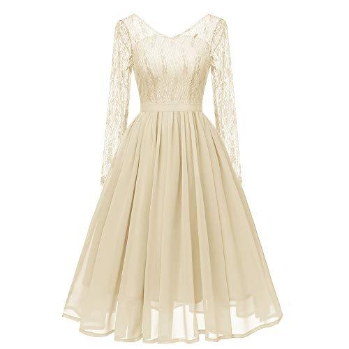 MAYOGO Kleid Damen Elegant Vintage 50er Spitze Kleid mit Tüll Langarm Cocktail Party Rockabill Kleider Abendkleid Lange Ärmel Rollkragen Kleid