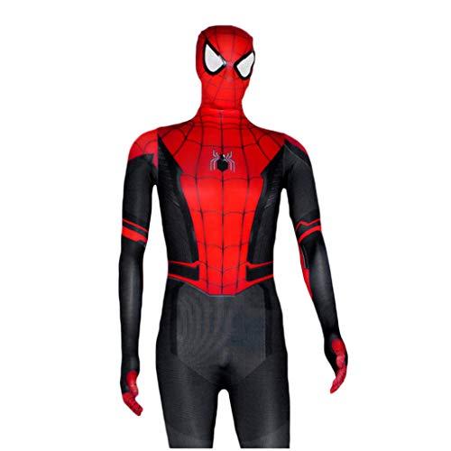QWEASZER Spider-Man: Weit weg von zu Hause, Marvel-Filmspiel Neue Version Spiderman-Kostüm Siamesische Strumpfhose schwarz Spider-Man Cosplay-Kostüm,SpiderMan-100cm (Marvel Neue Spiderman Kostüm)