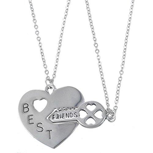 *MJARTORIA Damen Freundschaftskette Silber Farbe Halskette mit Gravur Best Friends Schlüssel Herz Anhänger 2 Stück*