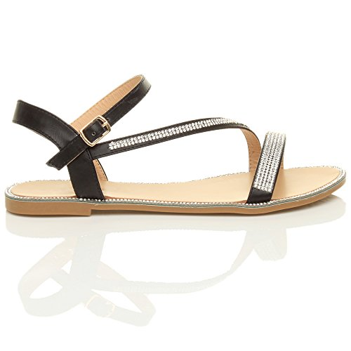 Damen Flach Kleiner Absatz Strass Schnalle Sommer Knöchelriemen Sandalen Größe Schwarz mit Strass