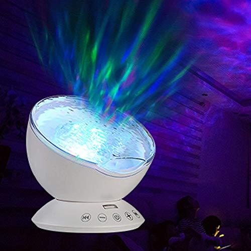 JJJ Nachtlicht Projektor, Kinder Nachtlichter für Schlafzimmer mit Fernbedienung Romantic Ocean Starry Bunte Wave Projektorlampe Geeignet für den Raum,White Geister Server