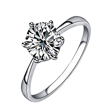 HKTC 18k White Gold Plated Classic 6 Prong Sparkling Solitaire