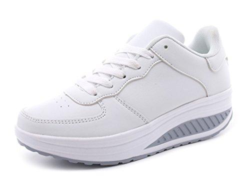 Amitafo donna scarpe sportive zeppa running sneakers super leggere traspiranti fitness stringate basse scarpe
