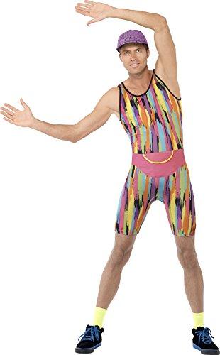Fancy Me Herren Herr Motivator Herr Energizer 1990s 90s Jahre Aerobic Instructor Neon TV Persönlichkeit Promi Kostüm Kleid Outfit - Mehrfarbig, Medium