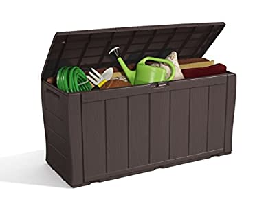 Keter Sherwood Plastic Storage Box Container Outdoor Garden Furniture, 270 L - Brown