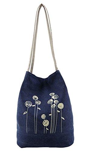 MKXI® Damen Handtasche Canvas Gedruckt Schultertasche Umhängetasche Shopper Tasche Dunkelblau