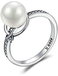 2411ea7c0b97 HCBYJ Anillo Plata esterlina 925 Anillos de Dedo de Perlas Luminosos e  imitación para Mujer Joyería de Plata…