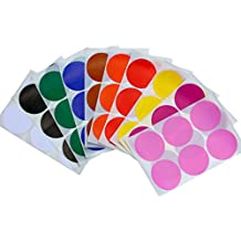 Round 2 inch Dot Stickers 10 Assorted Colors - Red, Yellow, Brown, Orange, Blue, Green, White, Black, Purple and Pink - 50mm Write on labels - Easy Peel - two inch Labels for Color coding - by Royal Green