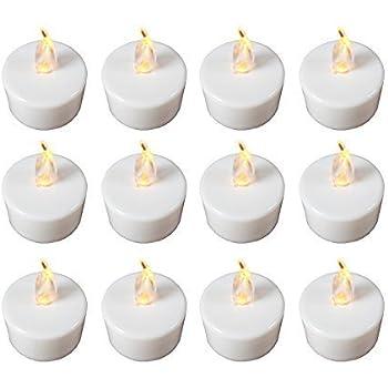 Babz 12 x FLICKERING LED TEA LIGHT CANDLES TEALIGHT TEA LIGHTS WITH FREE BATTERIES