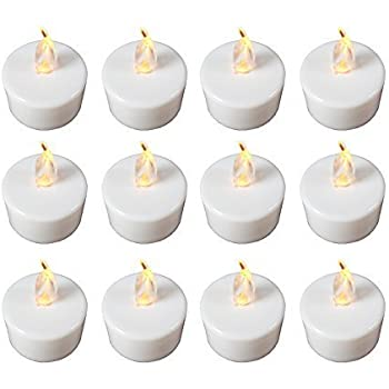 Babz 12 x FLICKERING LED TEA LIGHT CANDLES TEALIGHT TEA LIGHTS WITH FREE BATTERIES