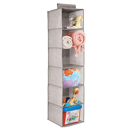 mDesign Organizador de ropa para armario - Estanteria colgante en tela para guardar y organizar articulos de bebe - Cajas para guardar ropa, toallas, mantas, juguetes - Color lino