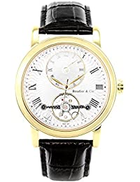 Boudier & Cie Herren-Armbanduhr Automatik Analog Leder Schwarz - B15H6