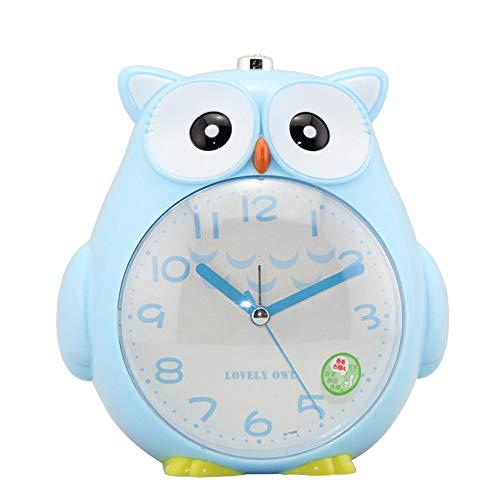 , Cartoon Cute Owl Silent Light Zwei-Farben-Student Kinder Wecker Kinder Schlaf Training Clock Schlafzimmer Smart Night Light Clock,Blue ()