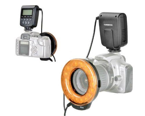 Mcoplus - FC110 Ringblitz - LED-Blitz und Dauerbeleuchtung für Makrofotografie mit Standard ISO Blitzschuh und LCD Display - Geeignet für Nikon, Canon, Pentax, Olympus, Sony (mit Adapter) uvm.