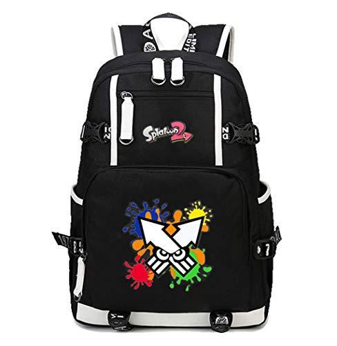 Cosplayer Splatoon Anime Backpack School Student Backpack Backpack School Bag for Laptop Black-4