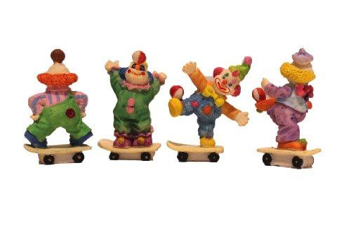 Clown auf Schlittschuhen, 4-teilig, Porzellan, Miniatur, Partyzubehör