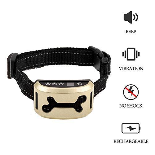Anti-Bell Hundehalsband NuoYo [2017 Upgrade Version] Wiederaufladbar / Verstellbar Hunde Trainingshalsband für kleine und Mittelgroße Hunde Mit Beep / Vibration / 7 Empfindlichkeitsstufen IPX 7 Wasserdicht für Hund --[Keine Schocks / keine Schmerzen / kein Schaden]