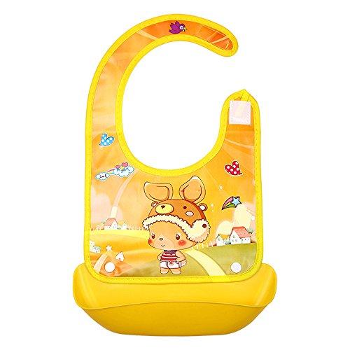 (ODJOY-FAN Niedlich Kind Lätzchen, Säugling Weich Silikon Lätzchen Wasserdicht Lätzchen Karikatur Dreidimensional Lätzchen Baby Lätzchen Kieselgel Kind Essen Tasche(N,1 PC))