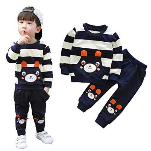 Baby Junge Kleidung Satz,OSYARD Herbst Winter Kinder Baby Junge Bekleidungssets Gestreift Bear Print Tops + Hosen Outfits,Kleinkind Cartoon Drucken Shirt + Pants Outfits Set Warm Pullover Sweatshirts