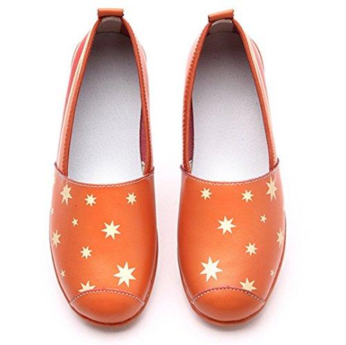 Transer® Damen Mokassins Frühling/Herbst Casual Schuh PU-Leder+Composites Sandelholz Slipper (Bitte achten Sie auf die Größentabelle. Bitte eine Nummer größer bestellen. Vielen Dank!) Orange