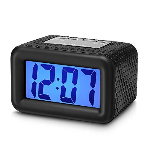 Plumeet Fácil de configurar, Gran Digitaces LCD del Recorrido del Despertador con la Snooze Buena luz...