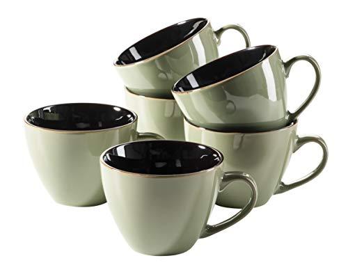 MÄSER 931519 Serie Scuro Cappuccino-Tassen-Set aus Keramik für 6 Personen, Milchkaffeetassen, Jumbo Kaffeetassen, 450 ml, Grün Steinzeug