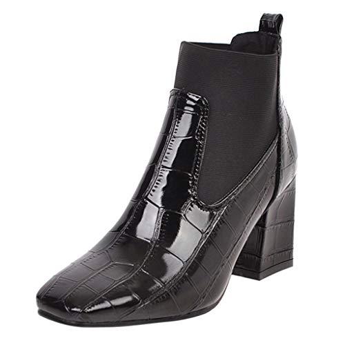 Frauen Einfarbig Krokoprägung Kurze Stiefel Damen Beiläufig Quadratische Absätze Reißverschluss Karree Schuhe