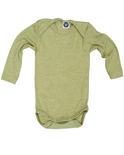 Cosilana, Baby Body Langarm, KBA Baumwolle, kbT Wolle, Seide (50/56, Grün meliert) -