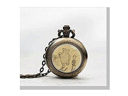 Winnie Puuh Taschenuhr, mit Kette, kunstvolles Design mit Motiv aus dem beliebten Kinderbuch, Glasabdeckung
