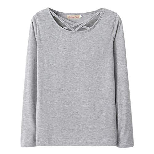 LRWEY Tee Shirt Femme Mode Femme à Manches Longues Col Rond Couleur Unie Creux Casual Tops Sweat Chemise pour Anniversaire Datation Mariage Travail Vacances Taille S-XL