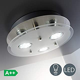 B.K.Licht Round ceiling light | LED ceiling light | Eco-friendly lighting | LED glass lamp |3 x 3 W 250 Lumen | Kitchen LED light | Classic finish | Modern look | Warm-white colour | GU10 fitting
