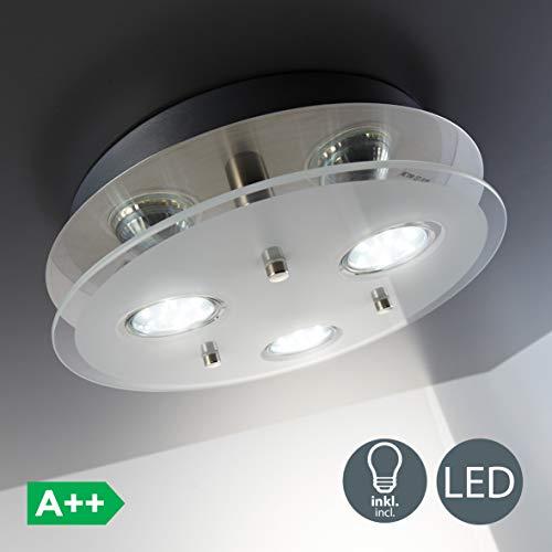 B.K. Licht plafonnier LED 3 spots, spots plafond, éclairage plafond cuisine salon salle à manger chambre, lumière blanche chaude 3000K, 230V, IP20, 3x3W