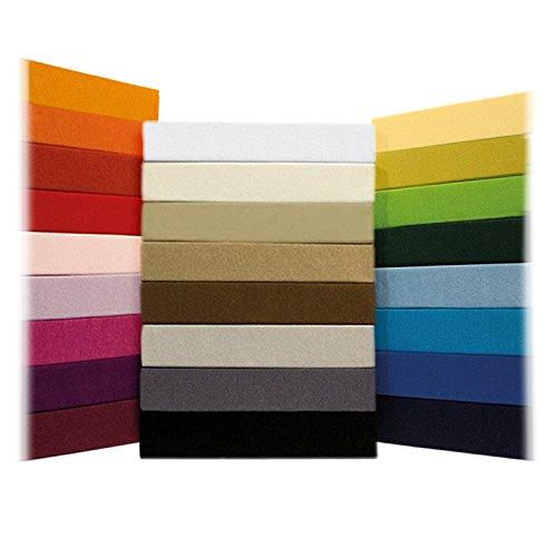 Jersey Spannbettlaken Leintuch Spannbetttuch - in allen Farben und Größen - 100% Baumwolle naturweiß / creme 200 x 220 cm Wasserbetten & Boxspringbetten